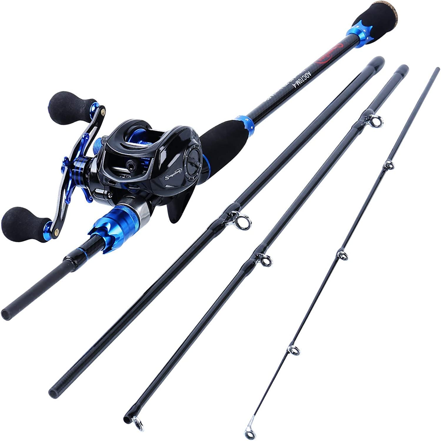 Sougayilang Fishing Rod and Reel Combos,24-Ton Carbon Fiber Fishing Poles with Baitcasting Reel,7.0 1 Gear for Travel Freshwater-2.1M Rod with Right Handed Reel