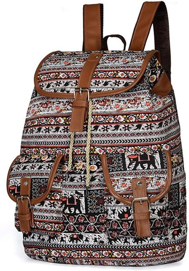 GINBL Canvas Elephant Print Backpack for Women Student Girls School Bag black