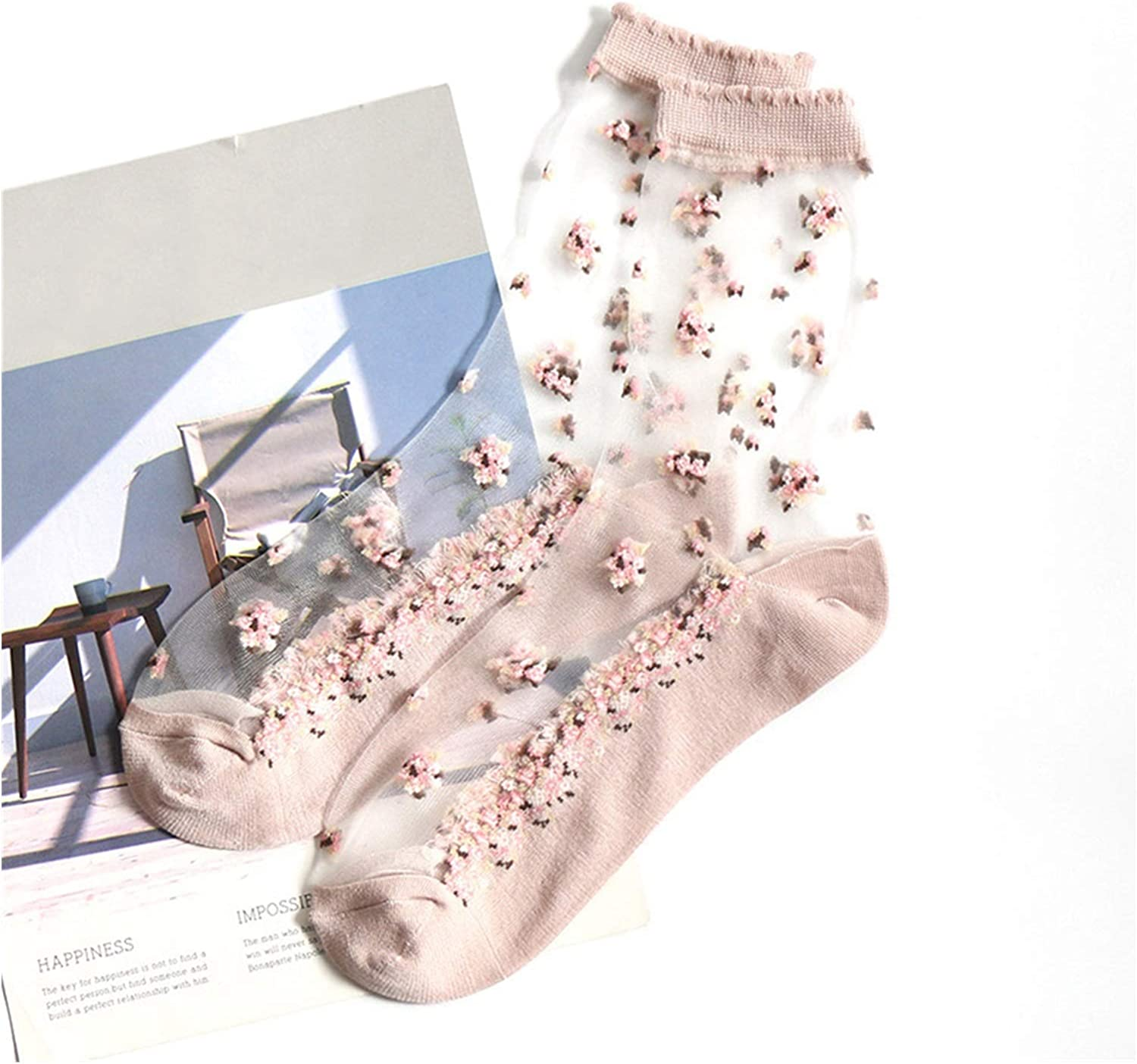 CHENGCHAO Sock 1 Pair Womens Summer Elastic Crystal Ice Silk Short Socks Jacquard Roses Floral Embroidered Ultrathin Transparent Thin Socks Movement (Color : Pink)