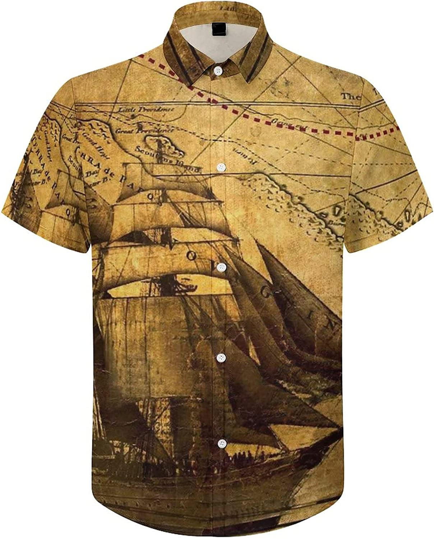Mens Button Down Shirt Ancient Treasure Map Pirate Ship Casual Summer Beach Shirts Tops