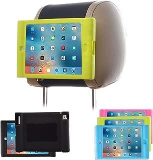 TFY Kids Car Headrest Mount Holder for iPad 4 / iPad 3 / iPad 2 - Detachable Lightweight Shockproof Anti-slip Soft Silicone Handle Case - Green