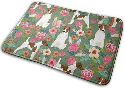 """Smooth Fox Terrier Floral Flowers Dog Breed Green_19571 Doormat Entrance Mat Floor Mat Rug Indoor/Outdoor/Front Door/Bathroom Mats Rubber Non Slip 23.6"""" X 15.8"""""""