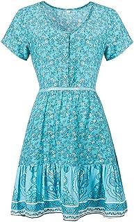 Dress Floral Large Swing Skirt V-neck Short-sleeved Dress, Size:XXL(Red) Fashion (Color : Light Blue, Size : M)