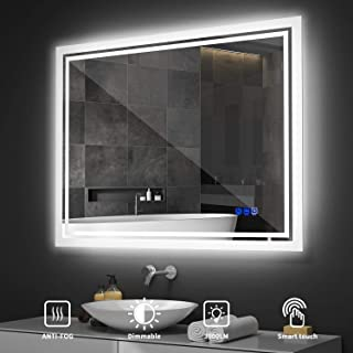 Tonffi 36x28 Inch LED Backlit Bathroom Mirror, Wall-Mounted Vanity Mirrors with Lights, Dimmable Touch Sensor, 3000-6000K Anti-Fog Makeup Mirror, Horizontal & Vertical