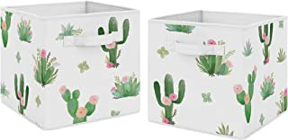 Sweet Jojo Designs Pink and Green Boho Watercolor Organizer Storage Bins for Cactus Floral Collection - Set of 2