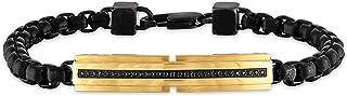 مجوهرات الرجال من إكوير 12 قطعة سوار من الفولاذ المقاوم للصدأ مطلي بالذهب والأسود، 21.59 سم