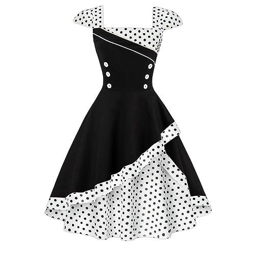 a4da8b0d26dc Axoe Womens 1950s Audrey Hepburn Cap Sleeve Polka Dots Retro Vintage Swing  Dresses