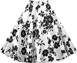 Killreal Women's Vintage Knee Length Flare Floral A Line Pleated Skirt