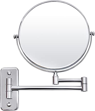SONGMICS 8 Two-Sided Wall Mount Makeup Mirror 360° Swivel Extendable 7X Cosmetic Mirror UBBM713