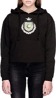 New Lunar Republic Eternal Night Mujer Sudadera con Capucha De Crop Negro Todos Los Tamaños - Women's Crop Sweatshirt Hoodie Black
