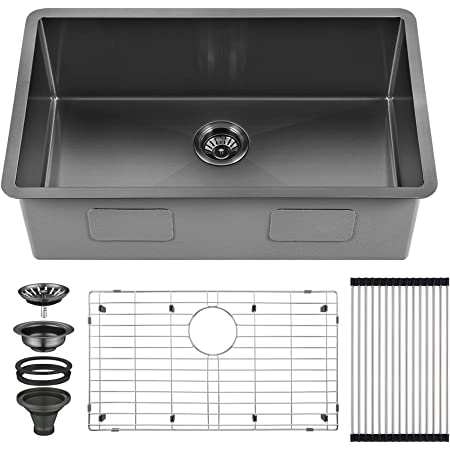 AguaStella AS3018MB Gunmetal Black Stainless Steel Undermount Kitchen Sink 30 Inches Single Bowl