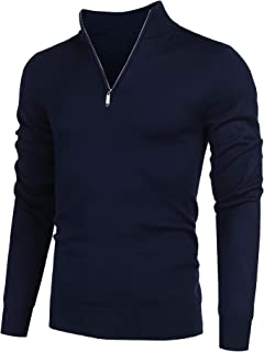 COOFANDY Men's Quarter Zip Sweaters Slim Fit Lightweight Cotton Mock Turtleneck Pullover
