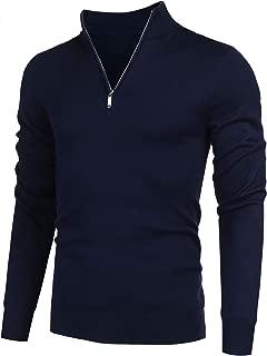 COOFANDY Men's Quarter Zip Sweaters Slim Fit Lightweight Cotton Mock Turtleneck Pullover
