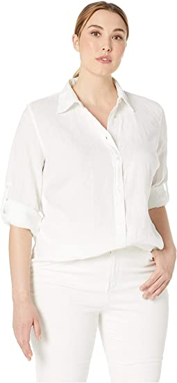 Plus Size Linen Roll-Cuff Shirt