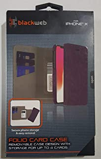 Blackweb iPhone X Folio Card Case Purple (Removable case Design with Storage for up to 4 Cards)