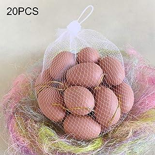 Takefuns - Juego de 20 huevos de gallina realistas, juego de comida para niños, plástico, marrón claro, Paquete de 20