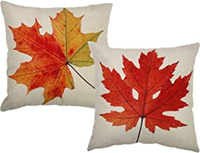 TOOL GADGET Autumn Leaves Decoration Pillow Covers Fall Maple Leaf Decorative Throw Pillow Cases, 2 Packs Cotton Linen Houseware,18x18