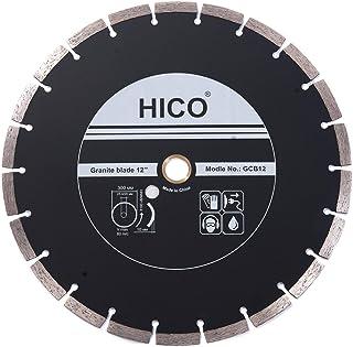 HICO 12-Inch Diamond Blade Segmented Turbo Teeth Granite and Marble Diamond Blades Dry or Wet Cutting General Purpose, Fits 1-Inch Arbor