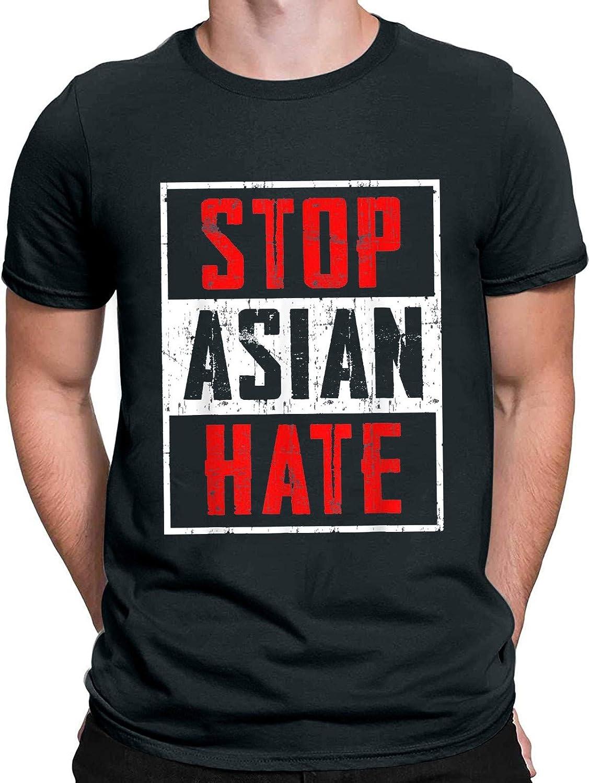 Mens Short Sleeve Basic Tshirt Stop Asian Hate Shirt Vintage Graphic Tees Loose Fit Crewneck Shirt Summer Shirt Blouse