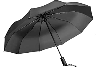 Windproof Umbrella, Vanwalk Black Portable Compact Travel Folding Strong Umbrella 10-Rib Sturdy with 210t Fabric Teflon, A...