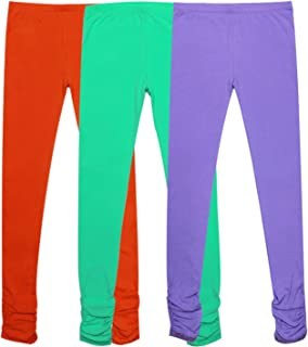 Bienzoe Girl's Cotton Stretchy School Uniform Lace Antistatic Legging 3 Pack