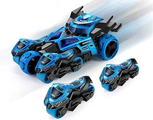 Magicwand® 🐇 3-in-1 Die-Cast Pull Back Catapult Chariot Car 🐉 with Ejecting Motorcycles Trinity Vehicle Playset Edu...