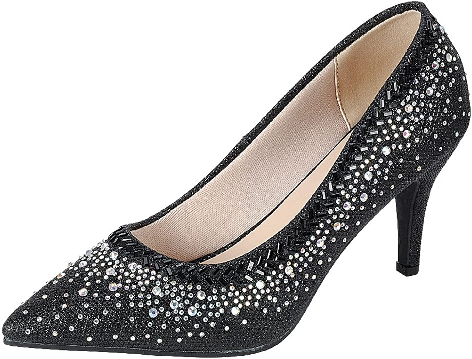 Cambridge Select Women's Closed Pointed Toe Glitter Crystal Rhinestone Stiletto High Heel Pump