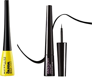 Maybelline New York Colossal Bold Eyeliner, Black, 3g & Maybelline Hyper Glossy Liquid Liner, Black, 3g
