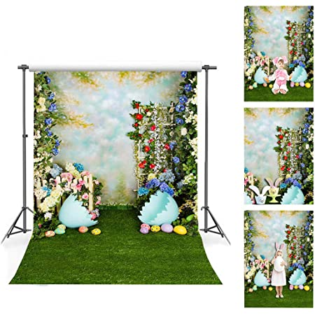 Little Lucky 5x7ft Easter Garden Photography Backdrop Spring Lawn Photo Background Wood Door Decor Backdrops for Children Baby Shoot Studio Prop