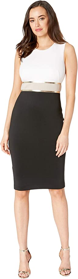 Color Block Sheath Dress with Metallic Trim Waist CD9M14KT