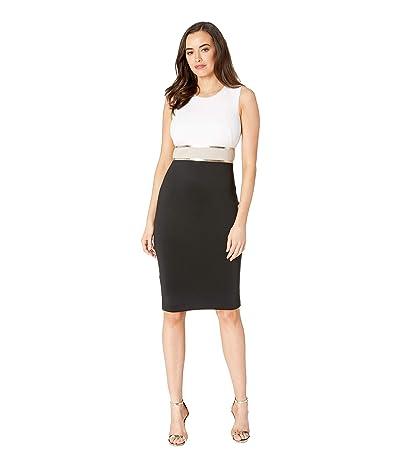 Calvin Klein Color Block Sheath Dress with Metallic Trim Waist CD9M14KT (Black Multi) Women