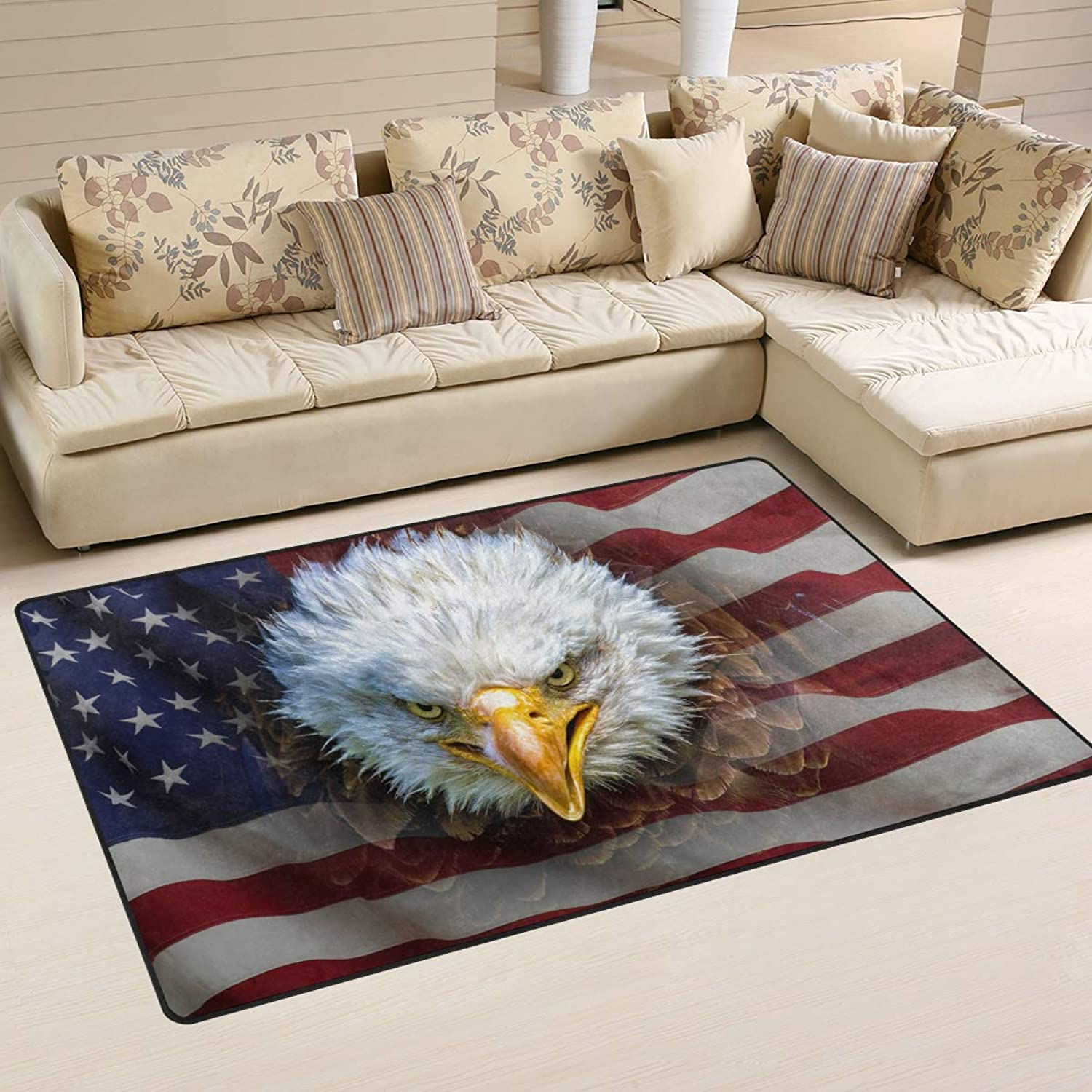 Area Rugs Doormats American Flag Bald Eagle 5'x3'3 (60x39 Inches) Non-Slip Floor Mat Soft Carpet for Living Dining Bedroom Home