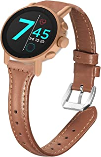 for Misfit Vapor X Bands, Blueshaw Slim Genuine Leather Band Replacement Accessories Strap for Misfit Vapor X Smartwatch (Brown)