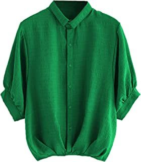 Milumia Women's Lantern Sleeve Pleated Detail Button Down Blouse Shirt