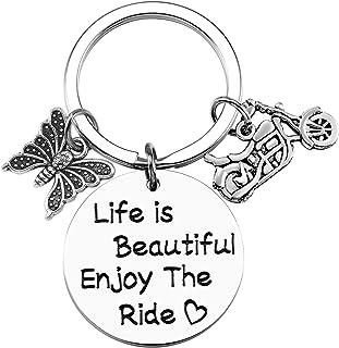 16th Birthday Gift Enjoy Drive Keychain Life is Beautiful Enjoy The Ride Sweet 16 Keychain