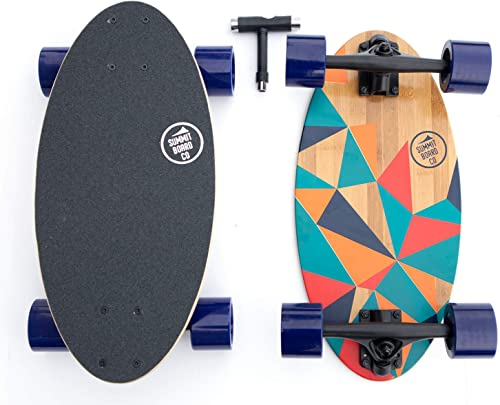 Summit Board Co Short Longboard Skateboard Deck with Precision Bearings and Rugged Wheels for Beginners and Experienced Skaters, Wide Mini Balanced Design
