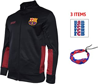 FC Barcelona Zip Up Jacket Hoodie Navy Fleece Youth Boys Licensed & Sticker