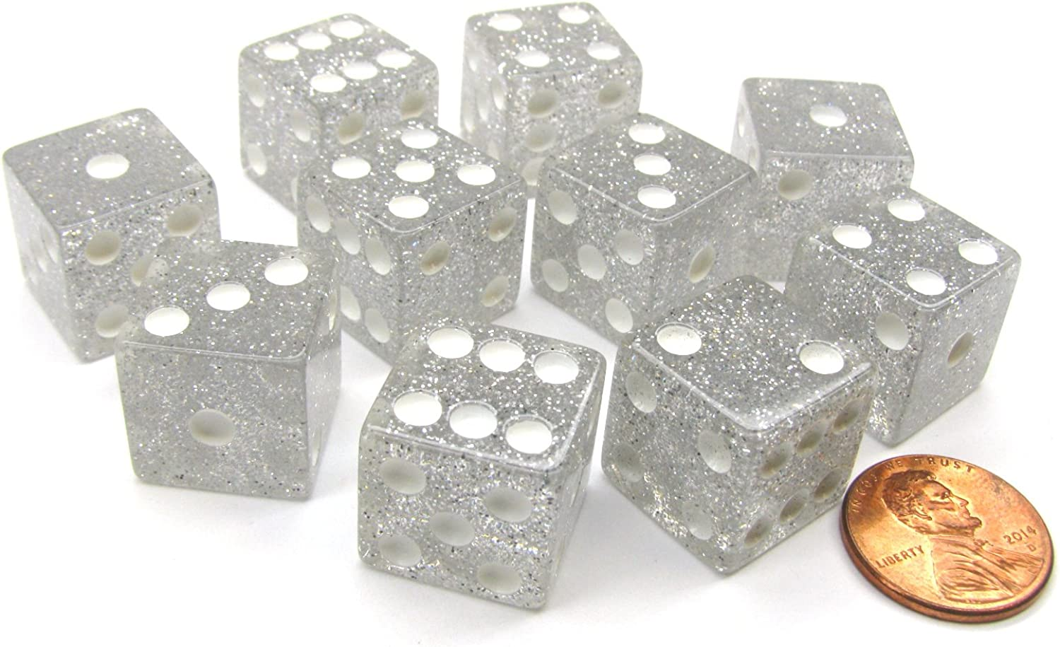 Set of 10 D6 16mm Glitter Dice - Clear White with White Pips