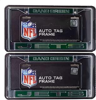 Rico New York Jets Gang Green NFL Chrome Metal (2) Laser Cut License Plate Frame Set