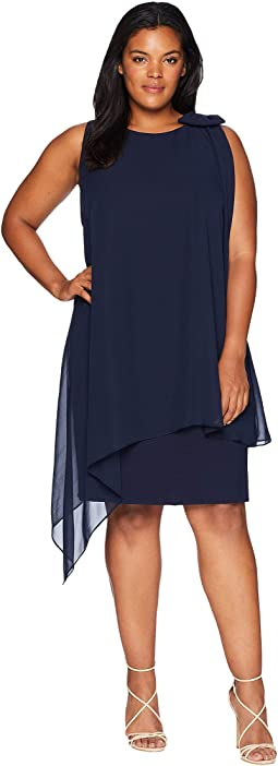 Plus Size Sleeveless Chiffon Sheath with Bow Detail on Shoulder