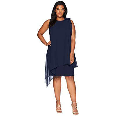 Tahari by ASL Plus Size Sleeveless Chiffon Sheath with Bow Detail on Shoulder (Navy) Women