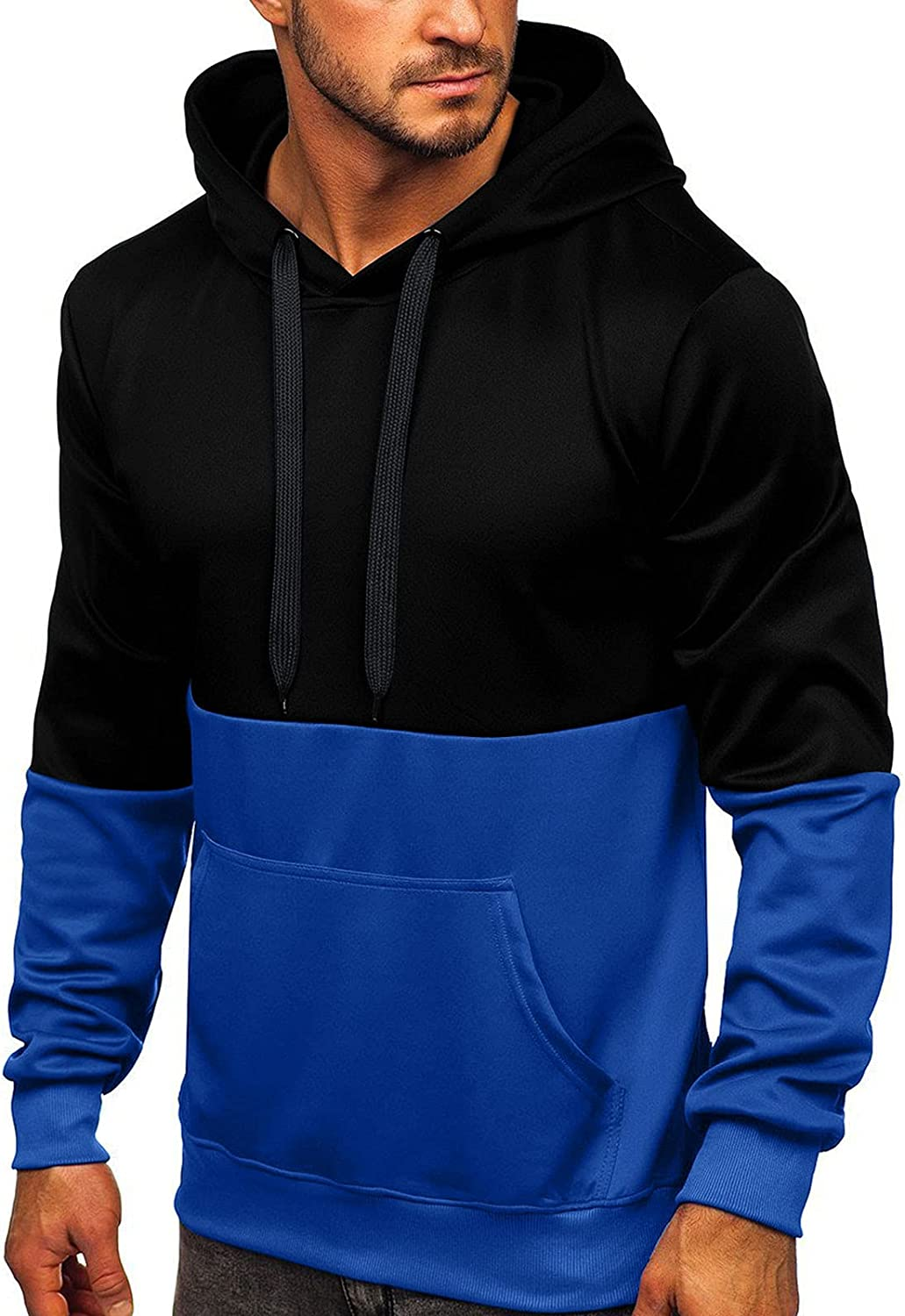 HONGJ Hoodies for Mens, Fall Color Block Casual Long Sleeve Pullover Hipster Drawstring Slim Fit Hooded Sweatshirts