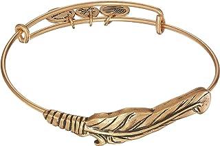 Alex and Ani Women's Spiritual Armor, Feather Bangle Bracelet, Rafaelian Gold, Expandable