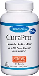 EuroMedica CuraPro - 750mg, 120 Softgels - High Potency Turmeric Curcumin Supplement - Clinically-Studied Liver, Brain, Heart & Immune Support - 120 Servings