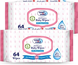Cool & Cool 99% Water Content Baby Wipes 64's - Pack of 2
