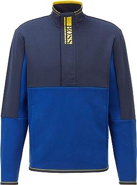 BOSS Hommes Sweat 1 Sweat en Tissu Interlock à Logo Color Block et Fermeture éclair Trois-Quarts