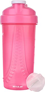 BOTTLED JOY Protein Shaker Bottle, Mixer Ball Shake Water Bottle, Shaker Water Bottles Mixer Ball, Gym Cup Shaker, 28ounce/800ml Shaker Cup White/Pink/Black Color