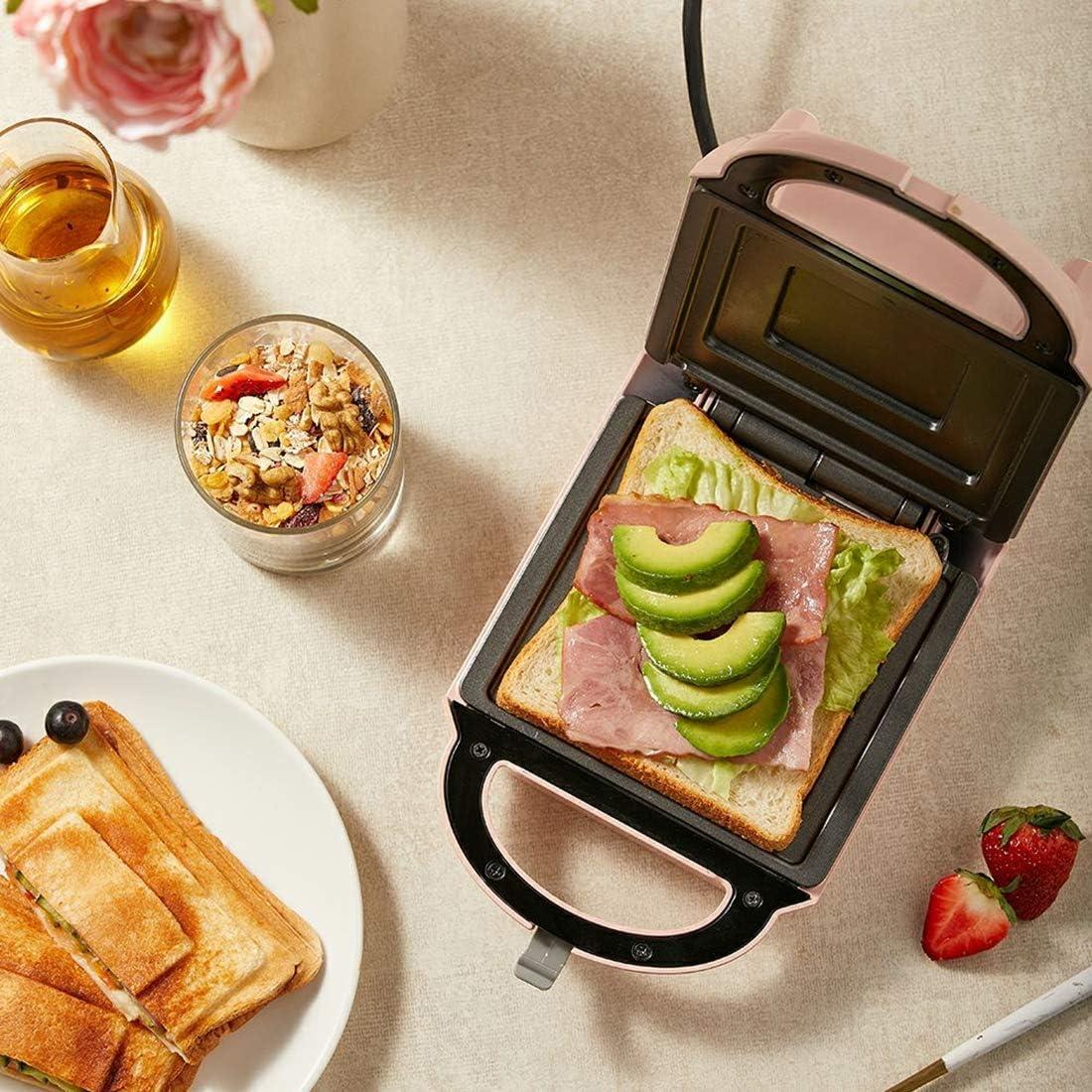 Mini 2-in-1 sandwich Grille-pain, gaufrier, Toastie Maker avec plaques amovibles antiadhésives, Cool tactile Poignée 460W, Beige (Couleur: Beige) QIANGQIANG (Color : Pink) Beige