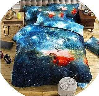 Just XiaoZhouZhou Bedding Sets Universe Outer Space Themed Bed Linen 3D Galaxy BS04 Duvet Cover Flat Sheet 2pcs/3pcs/4pcs Single Double Size,16,150x210 (4pcs)