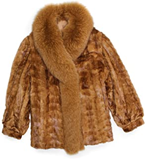 7e7a5c9feff 515723 New Plus Size Whiskey Brown Mink Sections Fox Fur Stroller Coat  Jacket 26